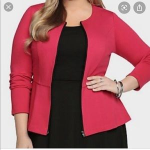 Red peplum zip up blazer/jacket